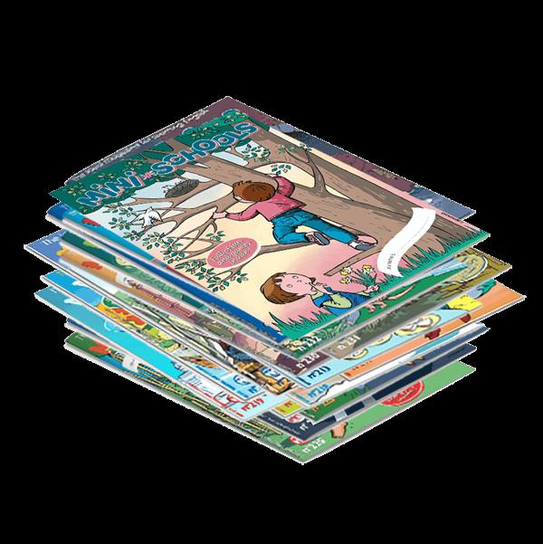 Pile de magazines en anglais pour enfants Mini-Schools®